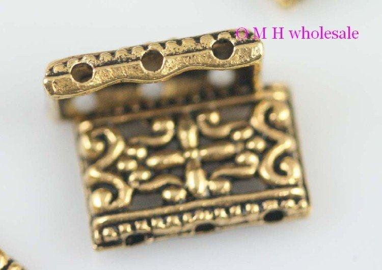 OMH Wholesale Free Ship 10pcs Golden 3 Hole Spacer Beads Jewelry Metal Beads 17x12mm ZL515