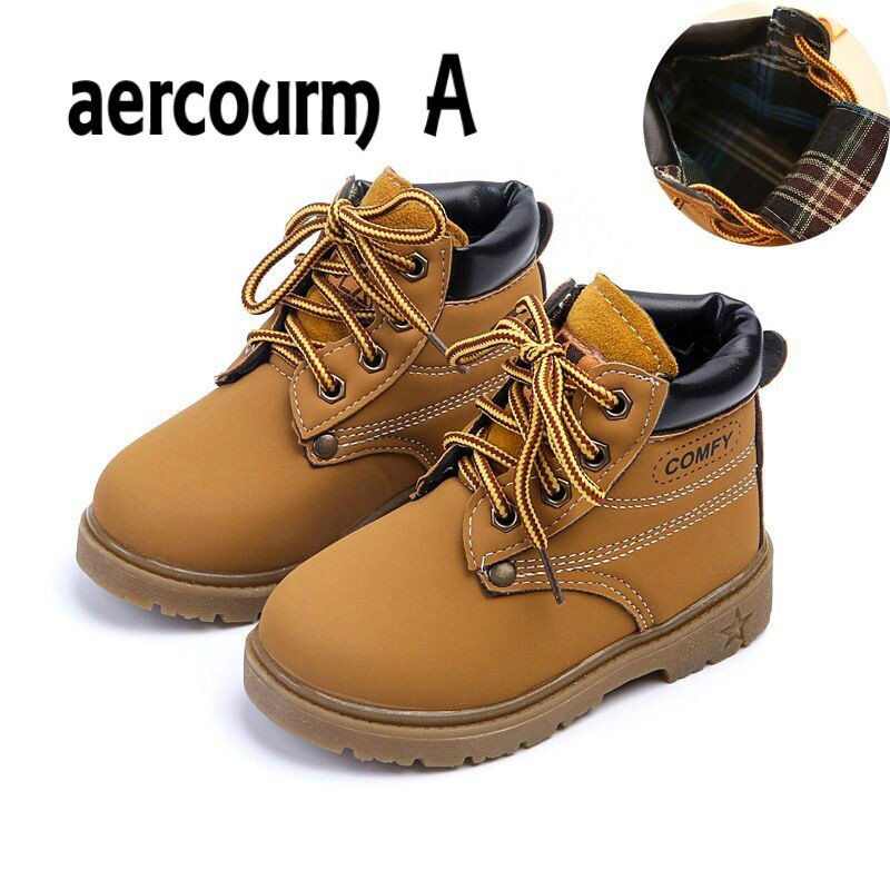 aercourm A 2018 Spring Girls Boots Boys Plush Children Snow Motorcycle Boots Lace-Up Rome Martin Boots Winter Kids Shoes 21-30