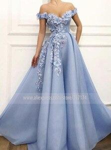 Image 3 - Fantasie 3D Blumen Prinzessin V ausschnitt A linie Prom Kleid mit Perlen Lace up Zurück Bodenlangen Party Kleid Abendkleid