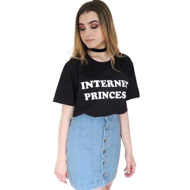 92b556d157 Internet Princesa T-shirt Casual Camiseta Femme Harajuku Tshirt Engraçado  Tumblr Moda Roupas Femininas camisas