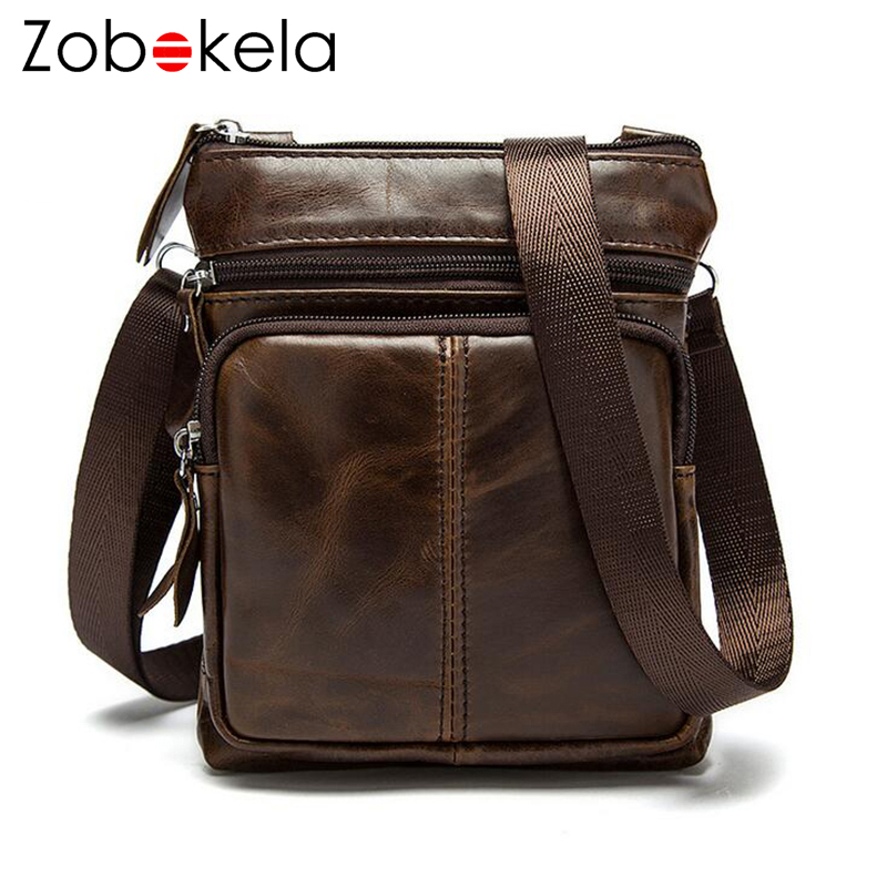 Zobokela Genuine leather bag men messenger bags men leather business men s  travel bags Cowhide briefcase small brands men bag-in Crossbody Bags from  Luggage ... 4d246b9165fd7