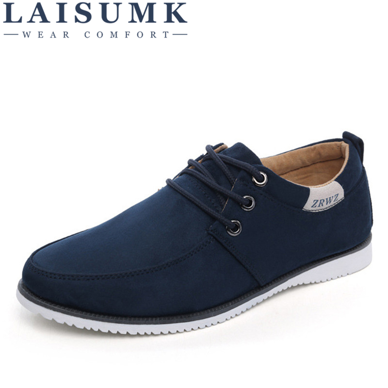 LAISUMK Autumn Spring Men Shoes Casual Leisure Male Footwear Fashion Men's Flats   Suede     Leather   Flat Shoes Men Comfortable Shoes