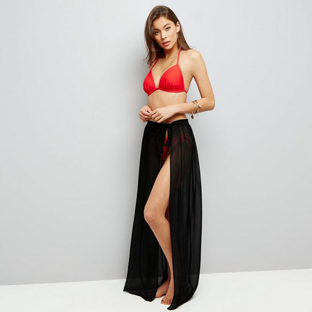 096cf2d8f9 Sexy Sheer One Layer Chiffon Skirt Black Tie See Through Maxi Skirt A Line  Floor Length Slit Beach Overskirt Bikini Overlay