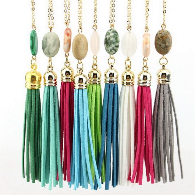 2018 Long Gold Chain Tassel Necklaces for Women Oval Natural Stone Pendant  Necklace Women Fashion Jewelry Boho Velvet Necklace 7d72e86939d9