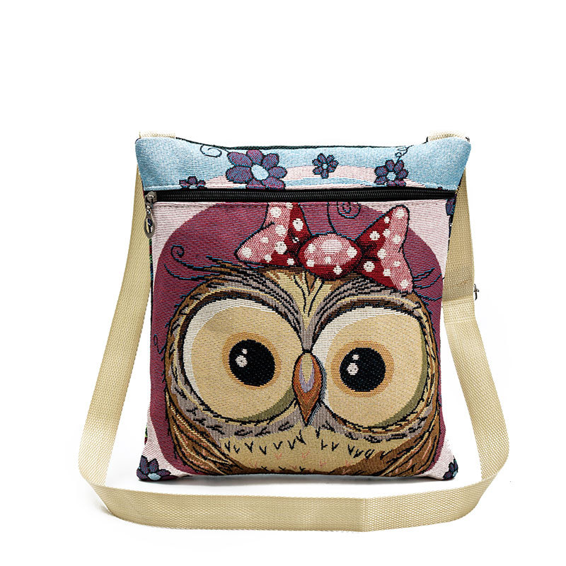Women Messenger Bags Owl Printed Canvas Crossbody Shoulder Bag Fashion Female Canvas Bag Summer Women Casual