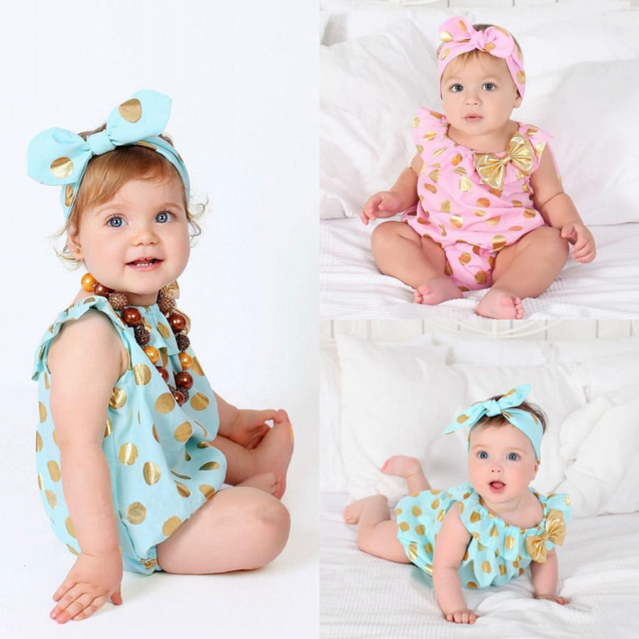 Newborn Infant Baby Girls Polka Dot Bodysuit Toddler Girl Bow Jumpsuit+Headband 2 Pcs Clothes Outfits Sunsuit Clothing 0-24M  недорого
