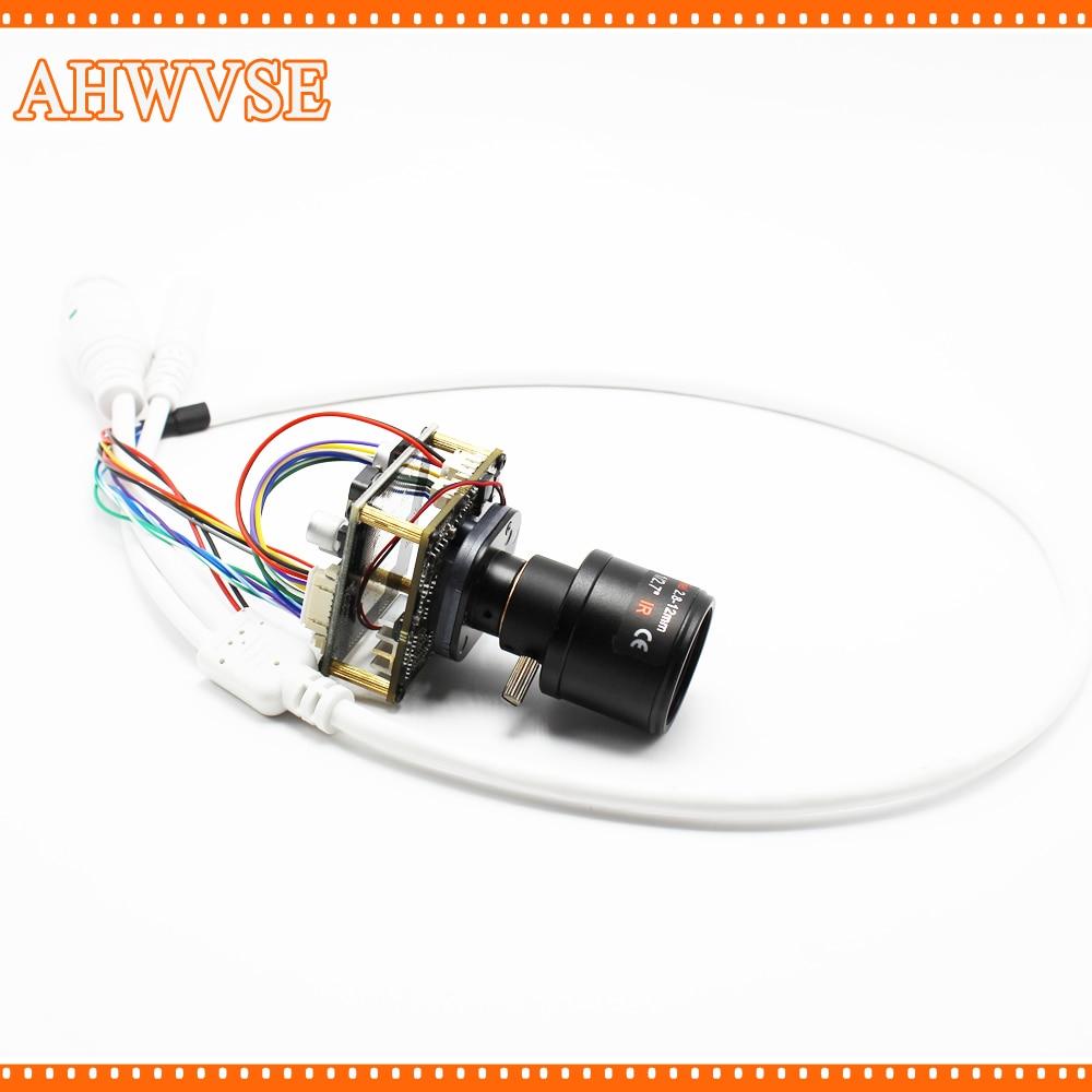 Varifocal 2.8-12mm Lens CCTV POE IP Camera Module Board PCB 1080P IRCUT LAN Cable ONVIF Mobile XMEYE Security Cam