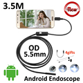 3.5 М 2 М 1.5 М 1 М Android USB Камеры Эндоскопа 5.5 мм объектив Гибкая Змея USB IP67 Водонепроницаемый micro USB Бороскоп Камеры 6LED