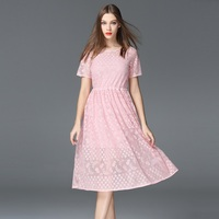 New Arrivals Women Dress Evening Party Gowns Pink Solid Color Lace Chiffon Dresses Elegant Ladies Clothes