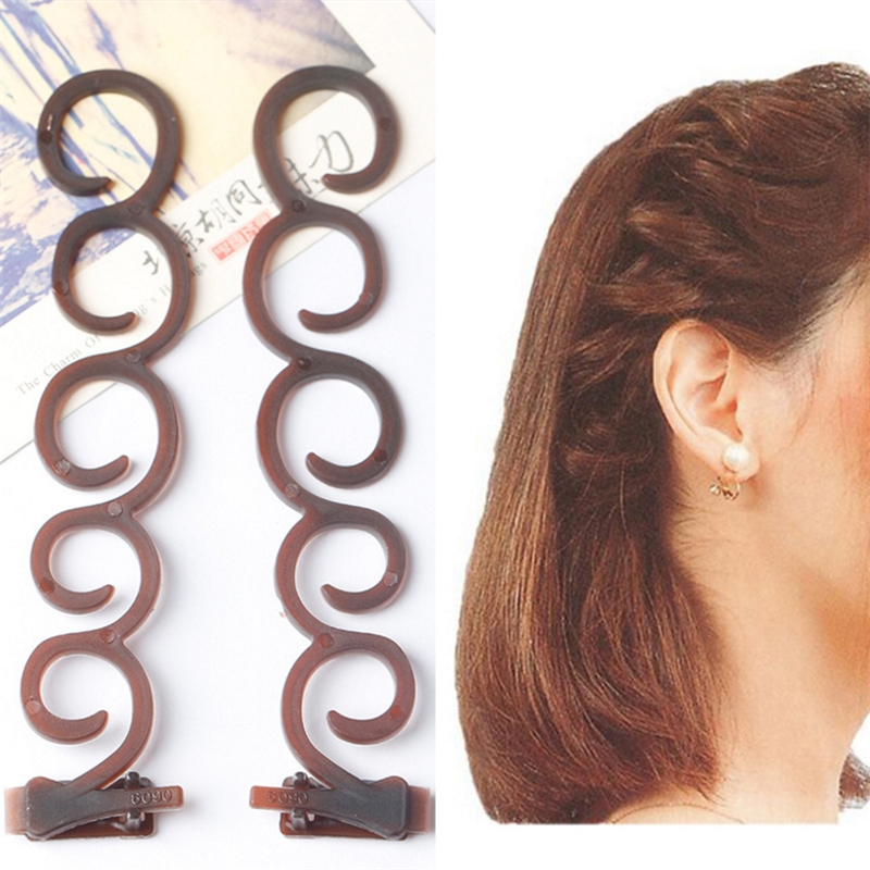 2Pcs/set Fashion Women Magic Hair Twist Centipede Styling Braid Clip Stick Bun Maker DIY Tool Hair Accessories Girls