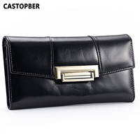 New Arrival 2015 First Layer Of Cowhide Genuine Leather Oil Wax 3 Fold Wallets Clutch Vintage