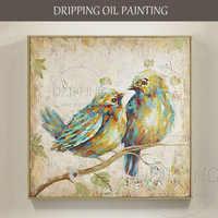 優れたアーティスト手描き現代絵画ダブル鳥油絵キャンバスダブル鳥滞在で枝油絵