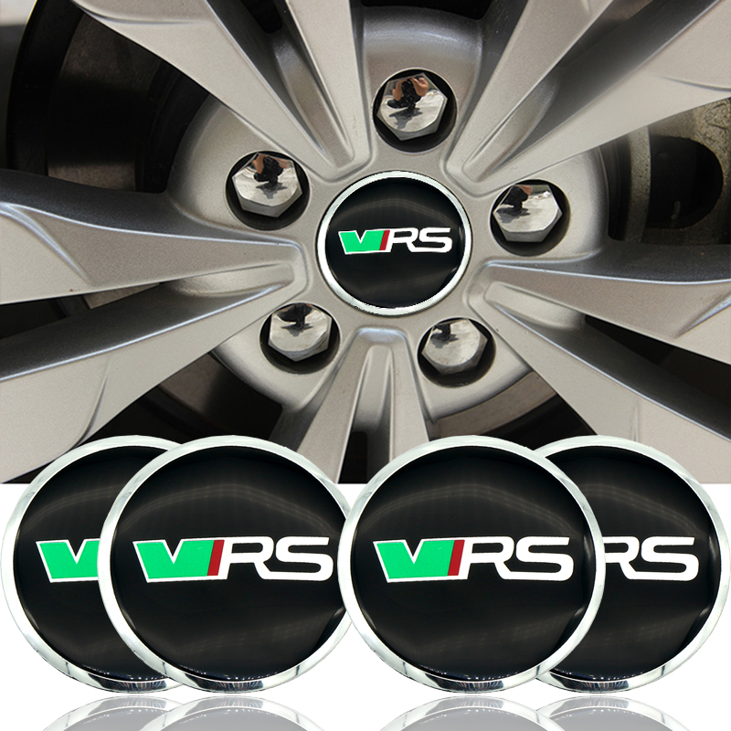 4PCS/lot 56mm RS VRS Aluminium Car Wheel Hub Center Caps Emblem Sticker For Skoda Octavia Fabia Yeti Car Styling Car Accessory