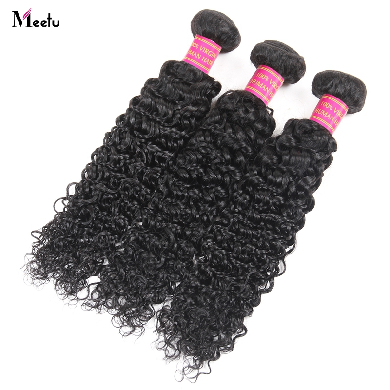 Meetu Indian Hair Bundles Kinky Curly Weave Human Hair Bundles 1 3 4 Pcs/Lot Natural Color Non Remy Hair Extensions