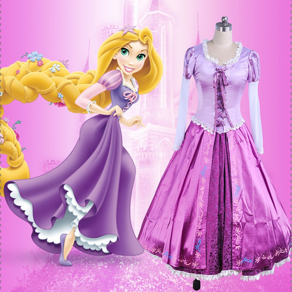Adult Rapunzel cosplay costume princess dress Halloween Costume for wonder woman long Carnival Evening party dresses