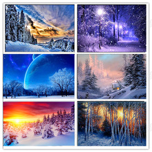Diamond Painting full round landscape DIY Embroidery winter scenery painting square Mosaic drill