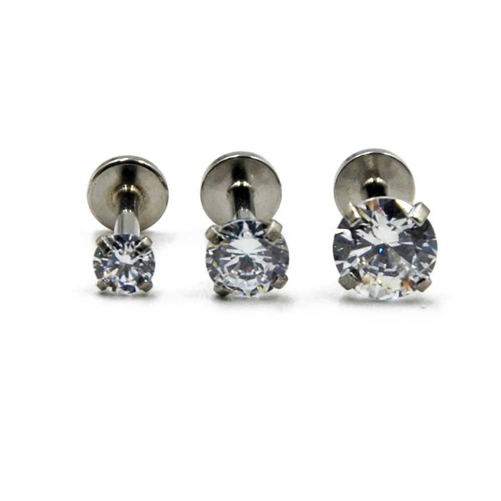 BOG-1PC 雌ねじプロング宝石ラブレットモンローリップスタッド耳軟骨珠らせんピアススタッドリング 16 グラムのボディジュエリー