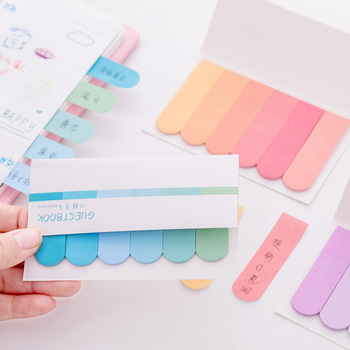6 colors Gradient Cute Kawaii Memo Pad Sticky Notes index Posted It Planner Stickers