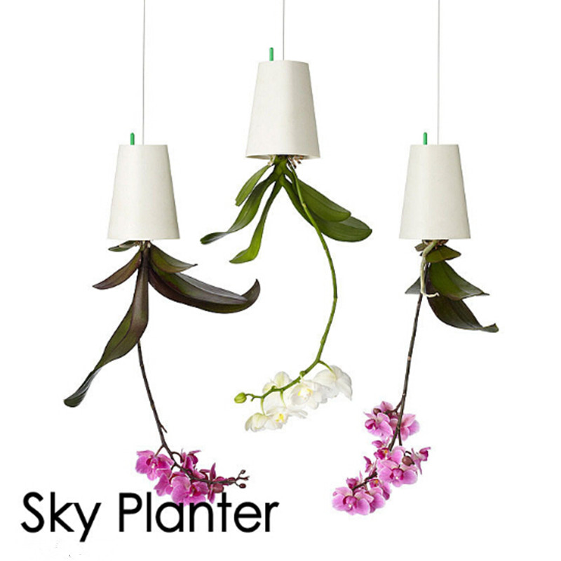 1 pcs Big Size 19*13.5*13.5cm Hanging Plastic Flower Pots Garden Sky Planter Upside-Down Flower Pots Planters Green Plants Pot