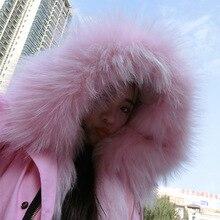 High quality women girl elegent real full piece fox fur coat warm thick fox fur Hat collar real raccoon fur liner coat