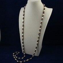 Ожерелье с натуральным жемчугом, 5-9 мм, смешанные цвета, натуральный пресноводный жемчуг, длинное ожерелье, идеальный подарок для женщин, ювелирное изделие