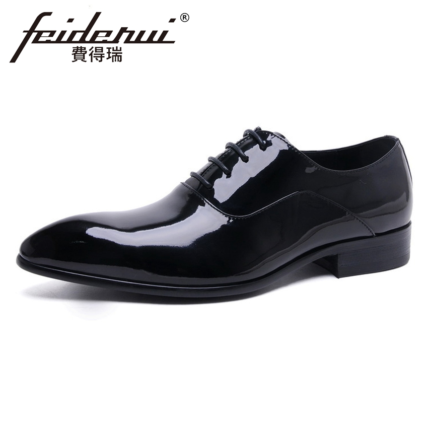 Luxury Designer Patent Leather Mens Handmade Oxfords Elegant Pointed Toe Lace up Man Formal Dress Wedding Party Shoes YMX114Luxury Designer Patent Leather Mens Handmade Oxfords Elegant Pointed Toe Lace up Man Formal Dress Wedding Party Shoes YMX114