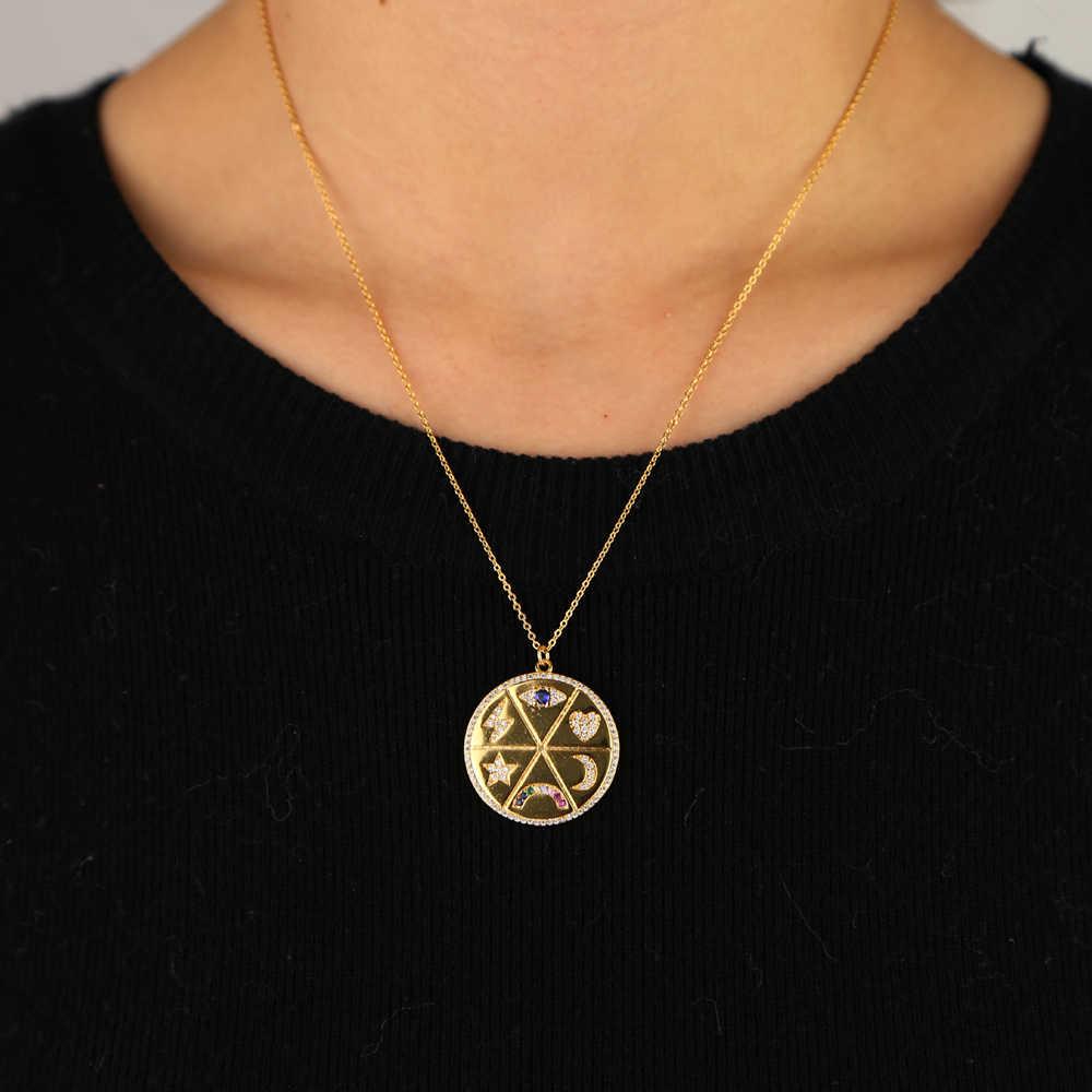 Круглый магнит для монет ожерелье для женщин Шарм Радуга cz диск Гравировка Звезда Луна молния счастливый глаз сердце модные ювелирные изделия