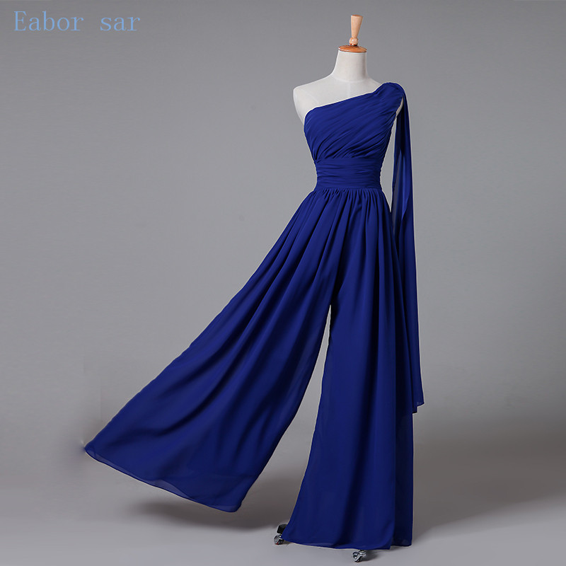 One shoulder navy blue bridesmaid dresses long wedding for Maid of honor wedding dresses