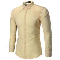 メンズシャツ高級シンプルなデザインシャツスーツファッションフォーマルドレスシャツ用紳士長袖トップス男性clothing 1101