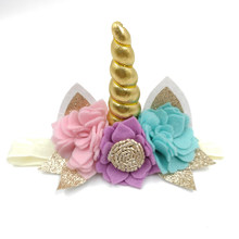 10 ชิ้น/ล็อต Gold Unicorn Headband Handmade Felt ดอกไม้ผม Band Glitter หู Headband (China)