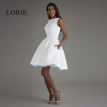 LORIE Short Beach Wedding Dresses 2017 Vestido Noiva Praia Simple Nuevo Blanco Real Photo Backless A-Line Prom Party Vestidos de novia