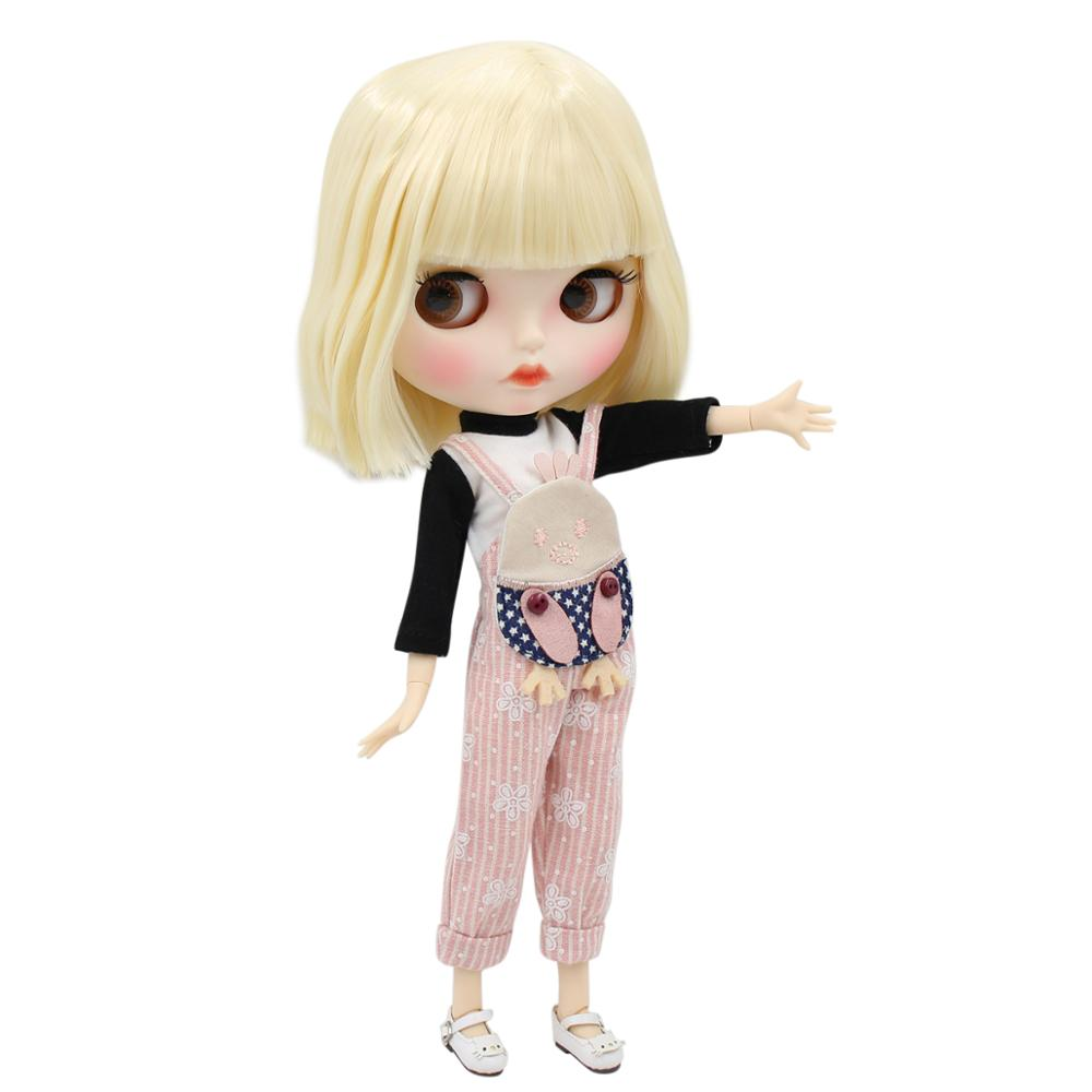 ICY factory blyth doll 1 6 bjd white skin joint body short blonde hair new matte