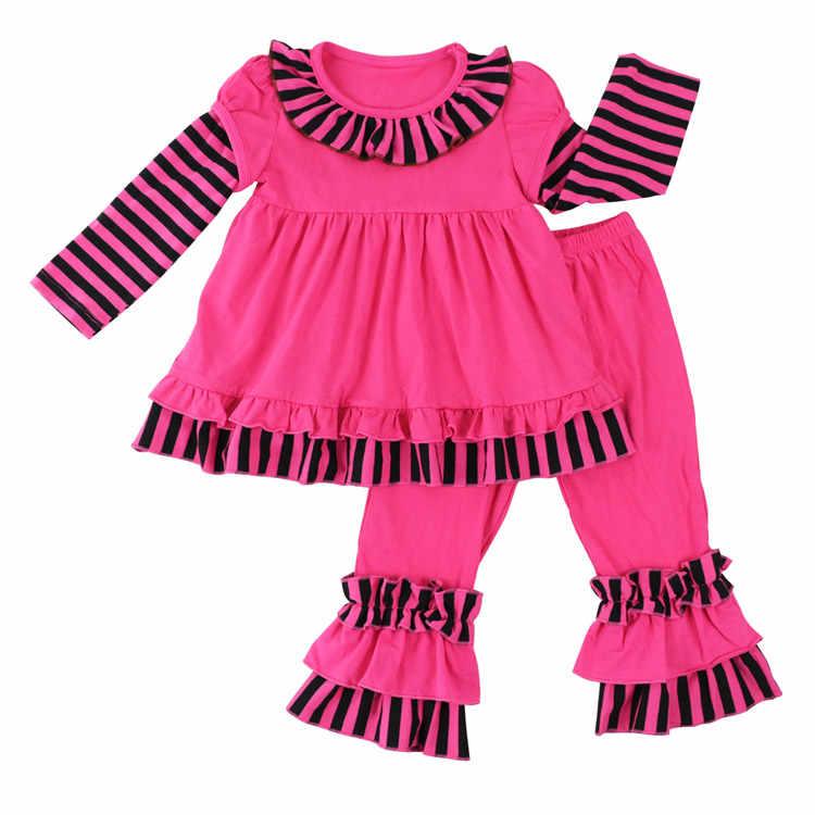 Conjuntos de ropa de otoño invierno a la moda para niñas pequeñas, vestido con volantes a rayas para niños, pantalones acampanados de 2 uds, conjuntos de ropa para bebés recién nacidos