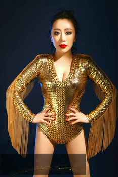 Gold Sparkly Crystals Leotard Tassel Sexy Bodysuit Dance Wear Women's Birthday Celebrate Jumpsuit Singer Performance Costume DJ