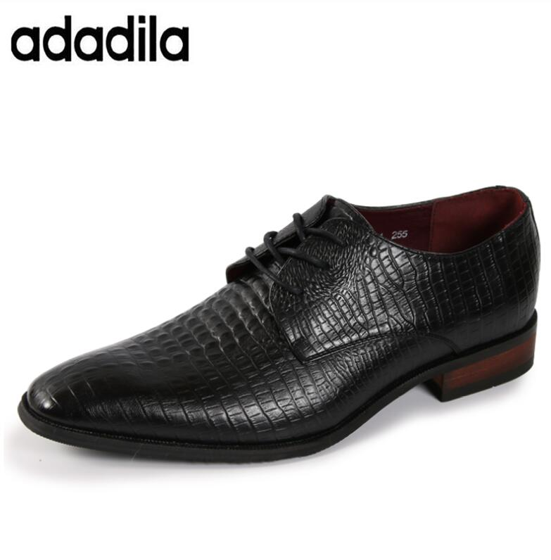 New Fashion Casual Mens Dress Shoes Genuine Leather Crocodile Lace up Italian Stylist Flat Formal Oxfords