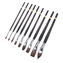 Watercolor brush gray mouse animal hair 9 pcs set cat tongue flat gouache acrylic student art beginner hand painted adult brush