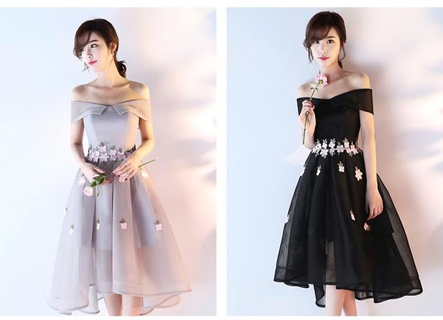 3184896b2c7c Black Silver Short Formal Evening Dresses Tea-Length Prom Party Gowns  High-Low Open Back Handmade Vestido De Noche Custom Made
