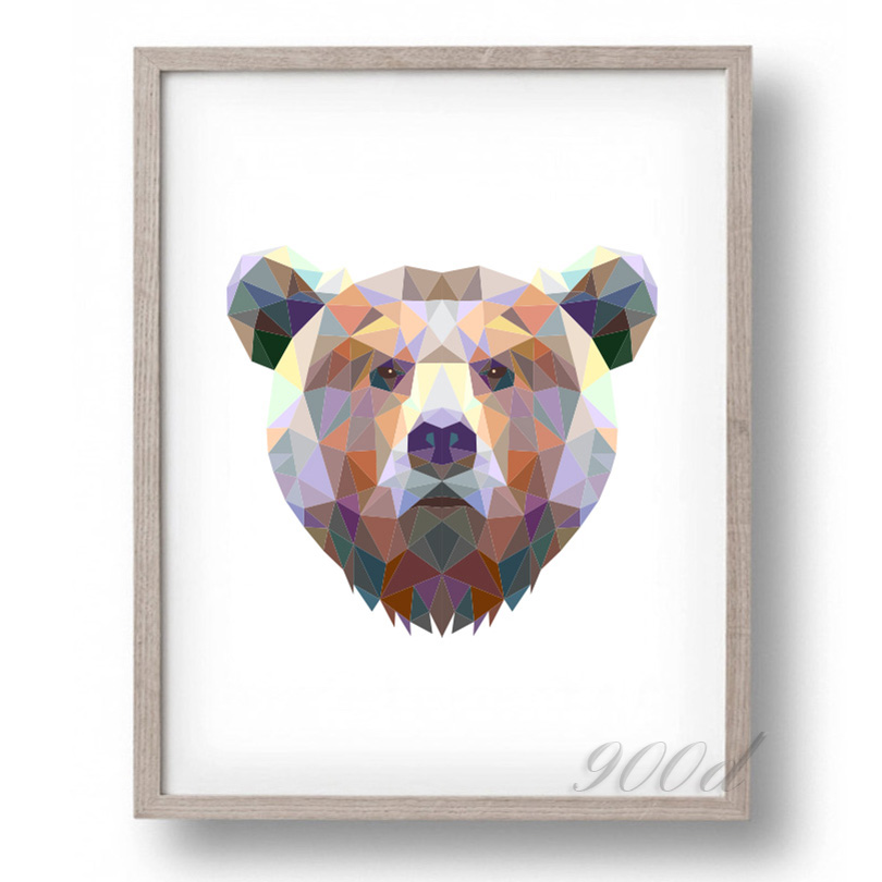 Triangle bear canvas art print painting poster wall for Paintings for house decoration