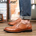 Global Lover 2016 New Genuine Leather Pointed Toe Men Shoes Casual Spring Autumn Fashion Business Formal Carved Flat Oxford Male