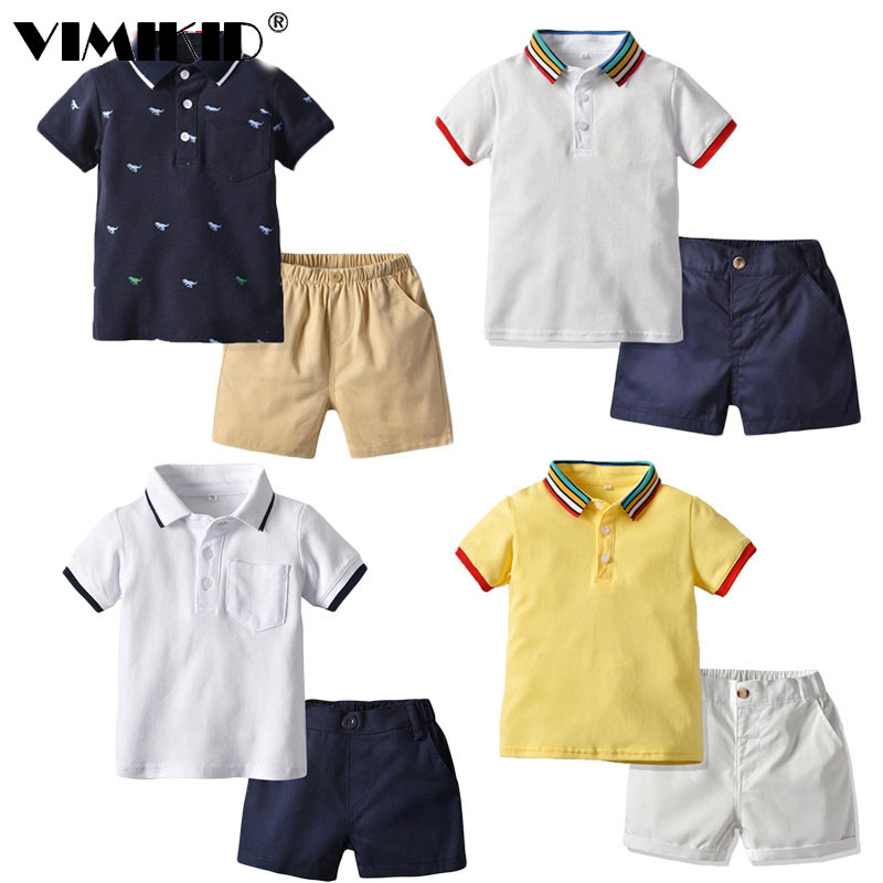 VIMIKID 2019 New Boy Clothes Suit Short-sleeved Polo Shirt Shorts 2 Piece Set Children's Clothes Gentleman Casual Glasses Bag