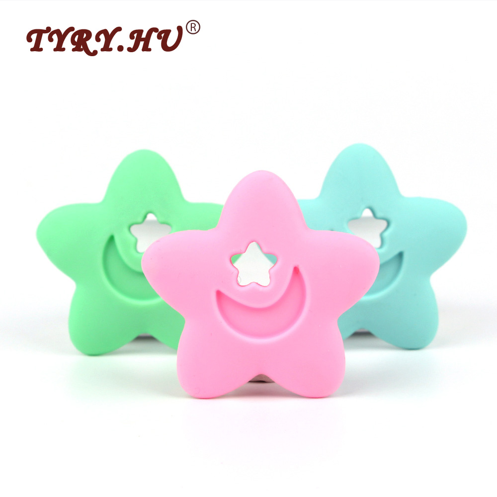 TYRY.HU 2Pcs Star Shaped Silicone Teether Baby Teething Chewed Silicone Beads BPA Free Food Grade Teethers Necklace Nursing Toys