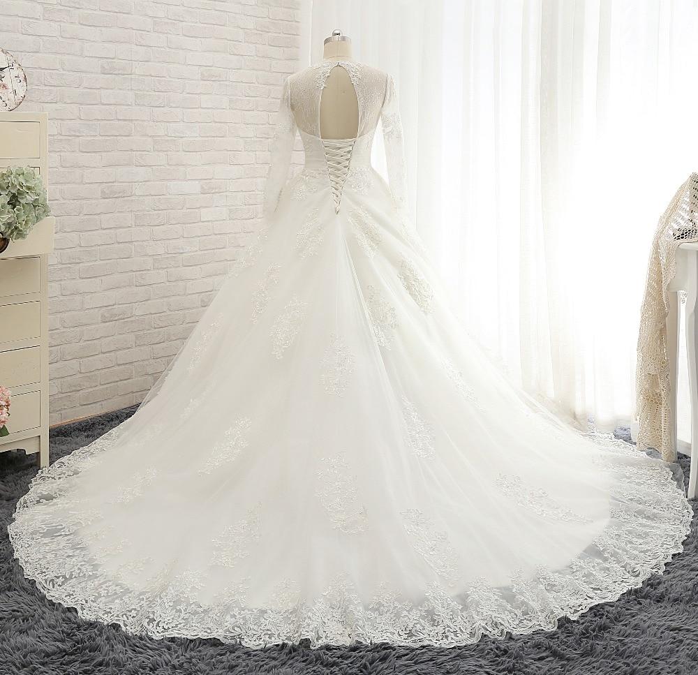 Vestido de novia New 2 in 1 Wedding Dress 2017 V Neck Long Sleeves ...
