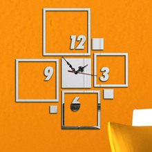 DIY Creative Wall Clock 3D Vintage For Living Room Modern Design Clocks Home Decor Mirror Watch