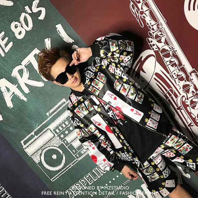 2018 Men Summer New Male Singer Dj Nightclub Ds Hip-hop Rock Guest Performance Suit Playing Card Baseball Costume Tide