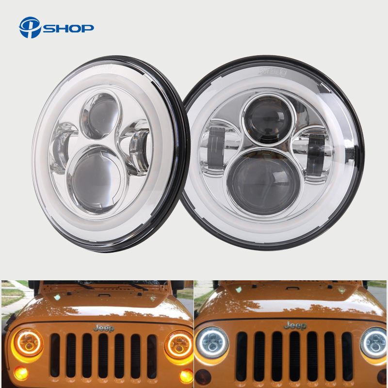 Pair for jeep Wrangler TJ 7 Inch Round LED Headlight White Halo Angel Eye / DRL Yellow Turn Signal LED Projection Daymaker Lens pair 7 inch round daymaker led headlights with white halo ring angel eyes amber turn signal for jeep wrangler jk tj