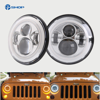 Pair for jeep Wrangler TJ 7 Inch Round LED Headlight White Halo Angel Eye / DRL Yellow Turn Signal LED Projection Lens