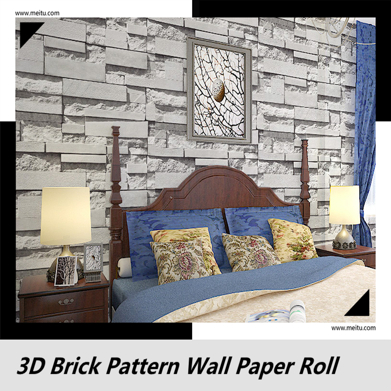 Gray color 69140 For Bedroom 3D brick pattern wall culture stone for the Living room bedroom TV background wall paper fashion letters and zebra pattern removeable wall stickers for bedroom decor