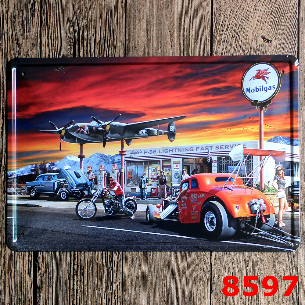 Car Sign Logo Plaque Vintage Metal Painting Wall Sticker Iron Sign