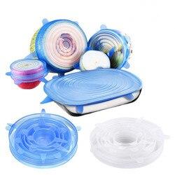 6 teile/satz Silikon Deckel Spill Stopper Abdeckung Universal Silikon Saug-Deckel-schüssel Pan Küche Werkzeuge Pan silikon stretch deckel abdeckungen