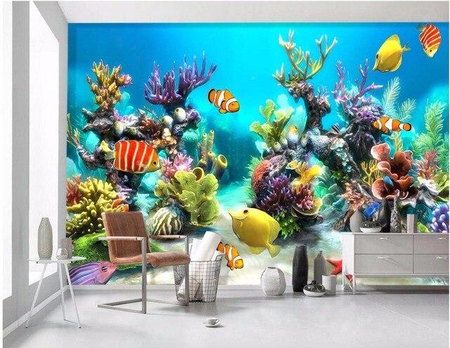 Behang Kinderkamer Vissen : Custom mural foto 3d behang zee wereld tropische vis kinderkamer